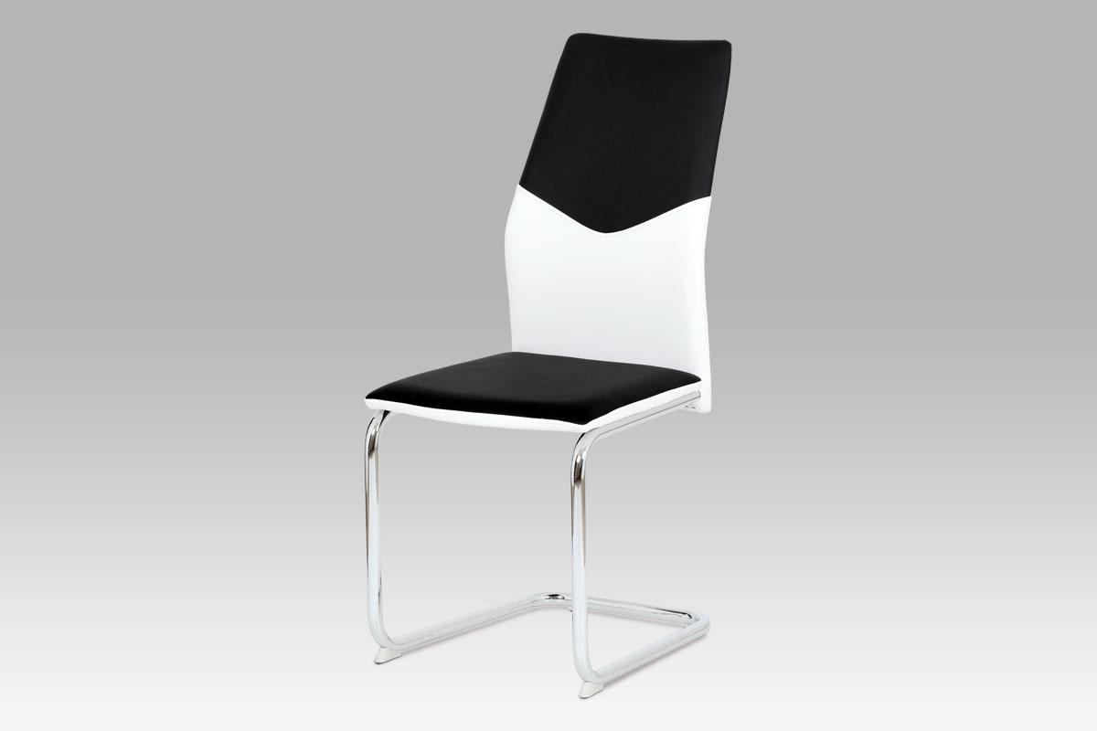 Autronic Jídelní židle AC-1610 BK, koženka černá + bílá / chrom