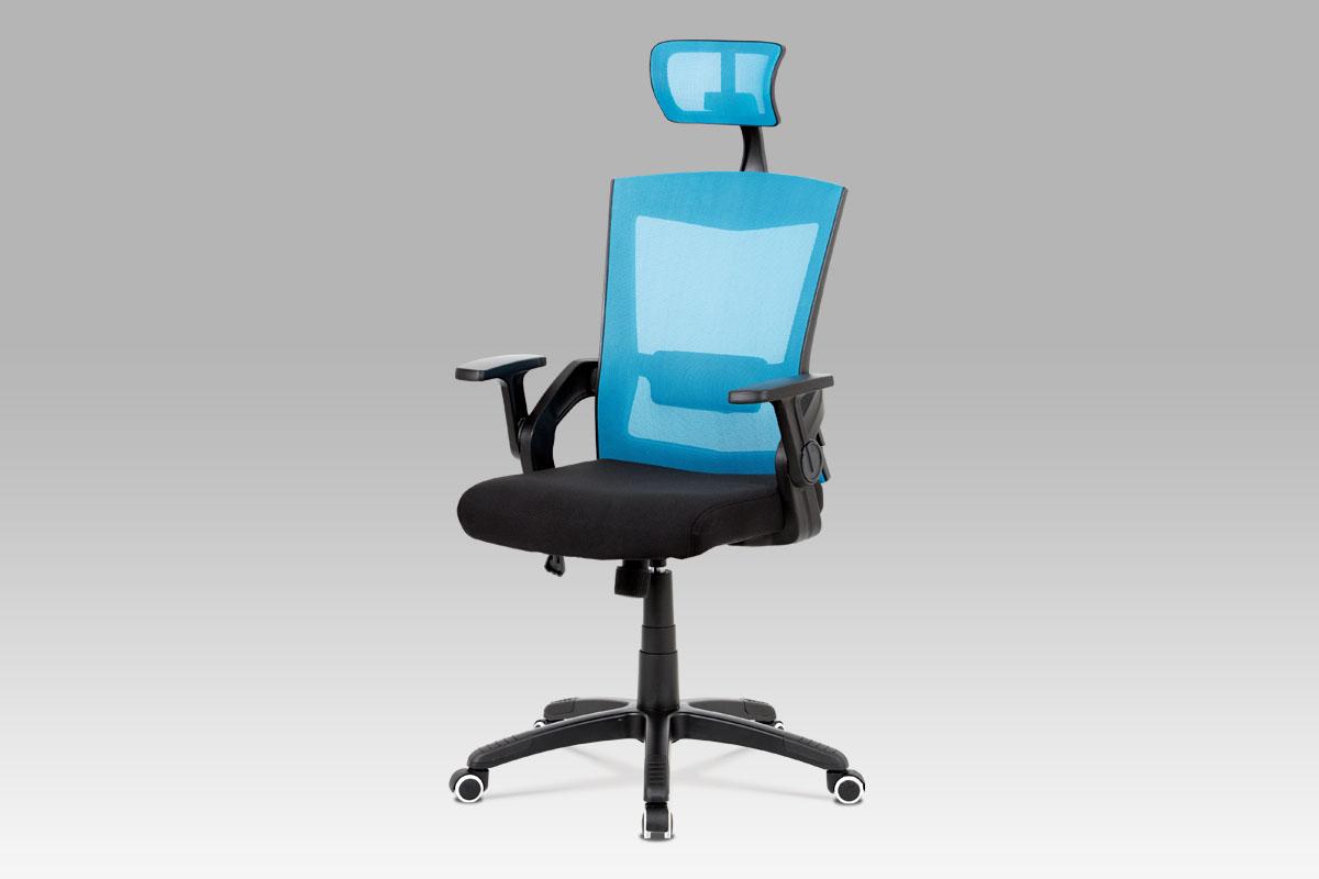Autronic Kancelářská židle KA-G216 BLUE, modrá s podhlavníkem