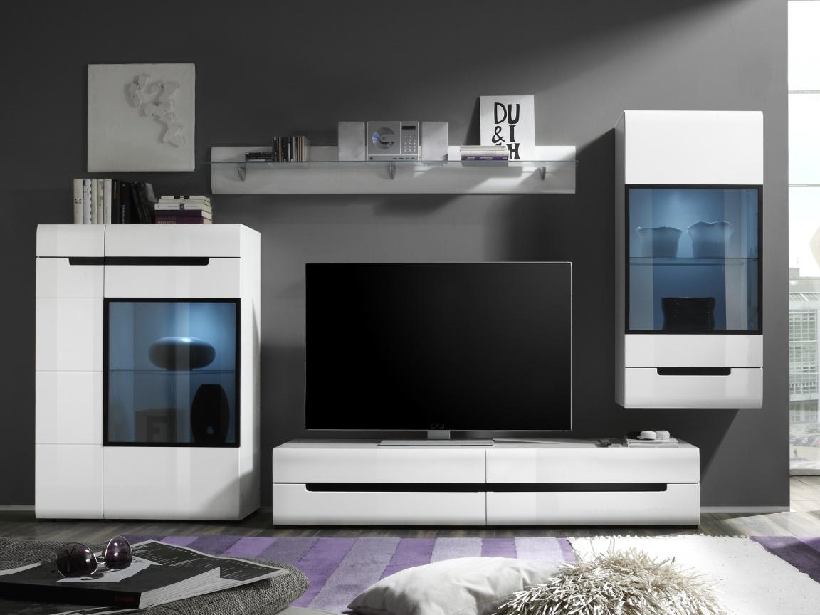 Smartshop HEKTOR obývací stěna 10, bílá/bílá lesk