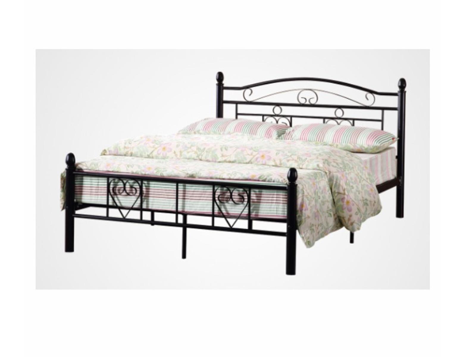 Tempo Kondela Kovová postel BRITA 160 x 200 vč. roštu, černá