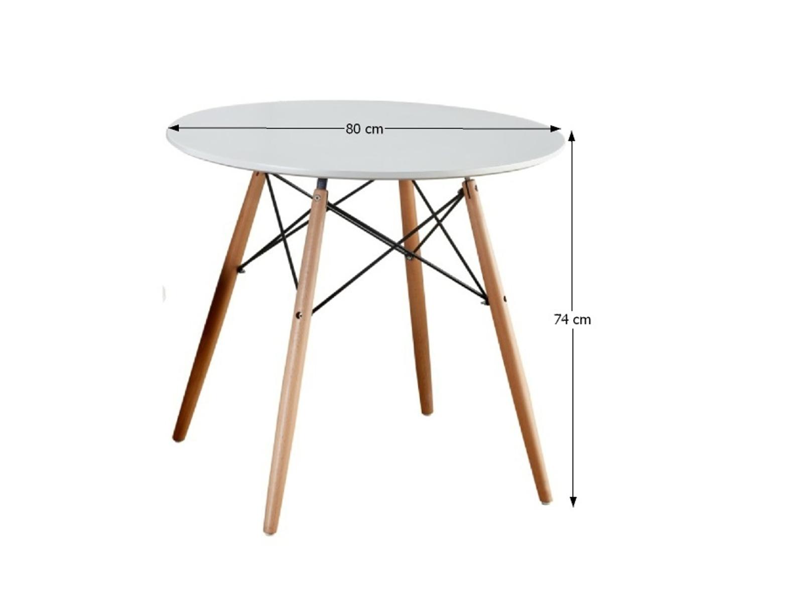 Tempo Kondela Jídelní stůl GAMIN 80, bílý/buk