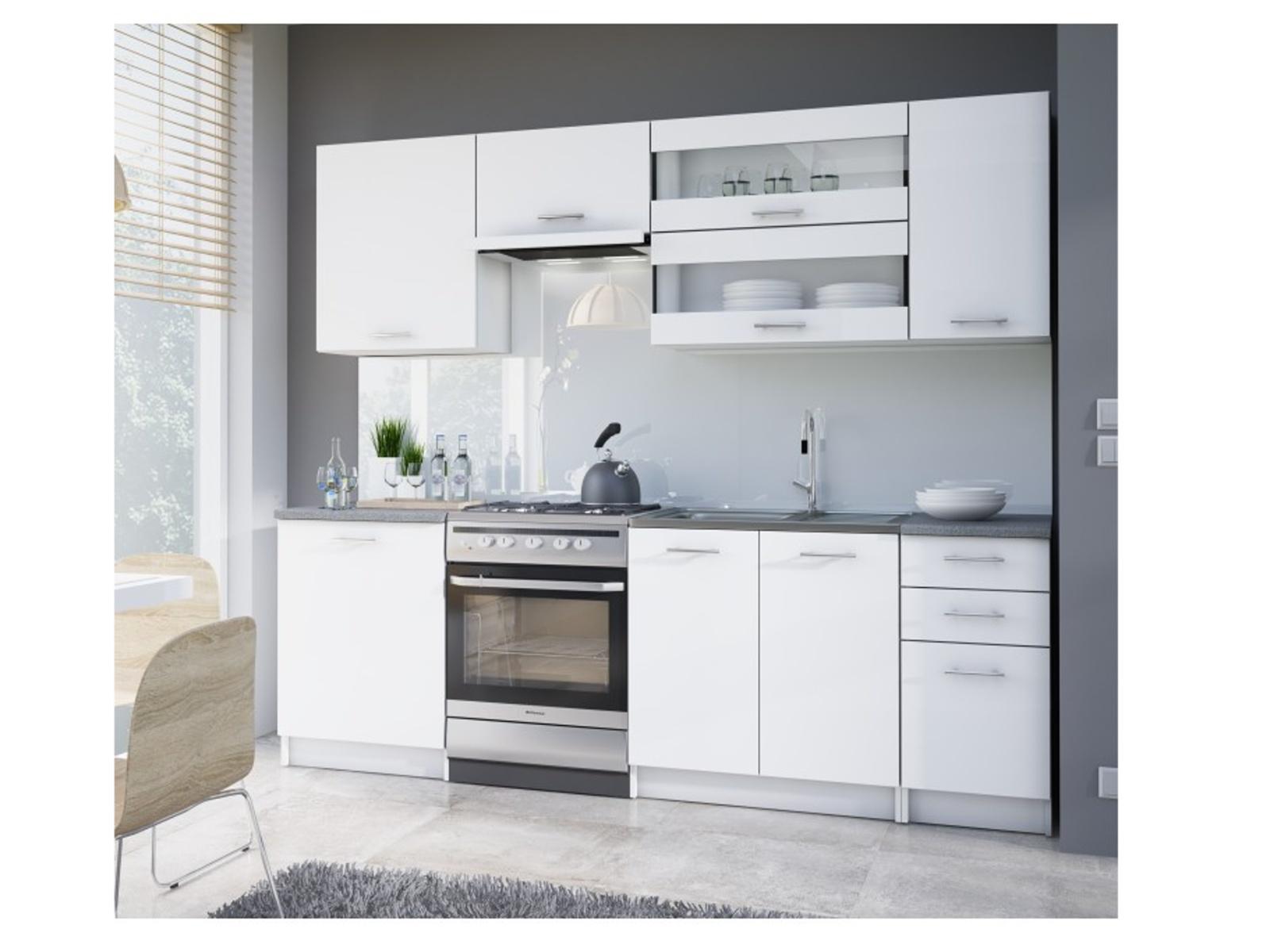 Tempo Kondela FABIANA, kuchyňská linka 180/240 cm, bílá
