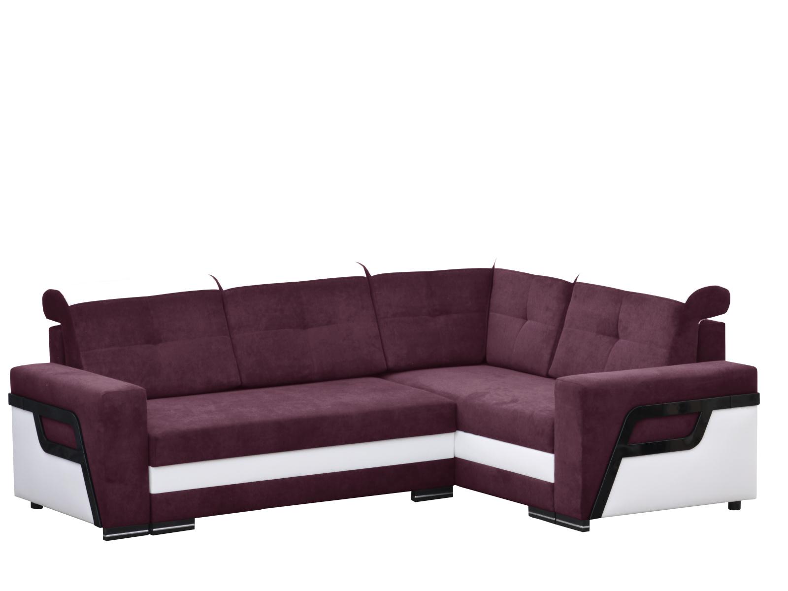 Smartshop Rozkládací rohová sedačka LOFT 3 pravá, fialová látka/bílá ekokůže