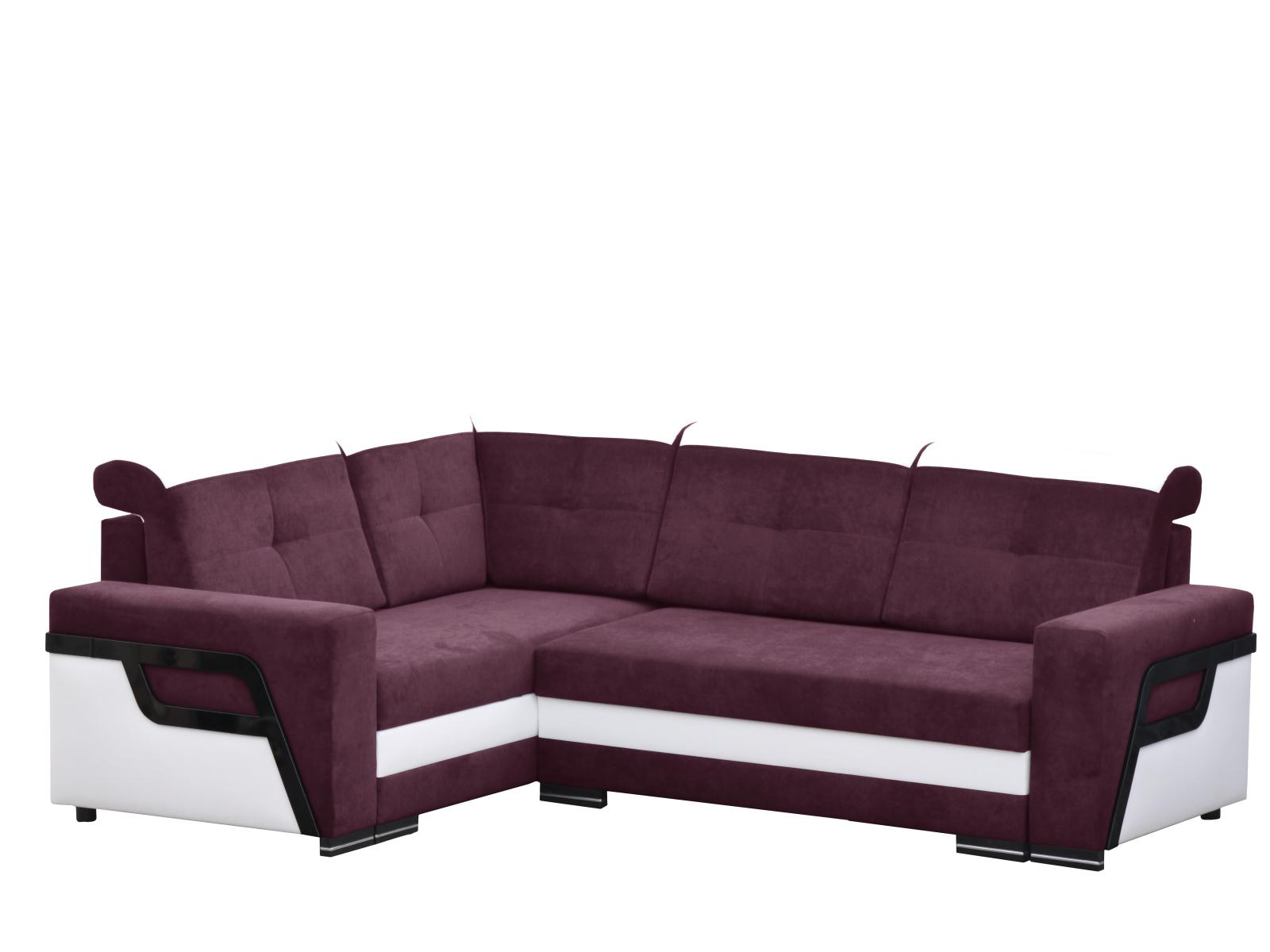 Smartshop Rozkládací rohová sedačka LOFT 3 levá, fialová látka/bílá ekokůže