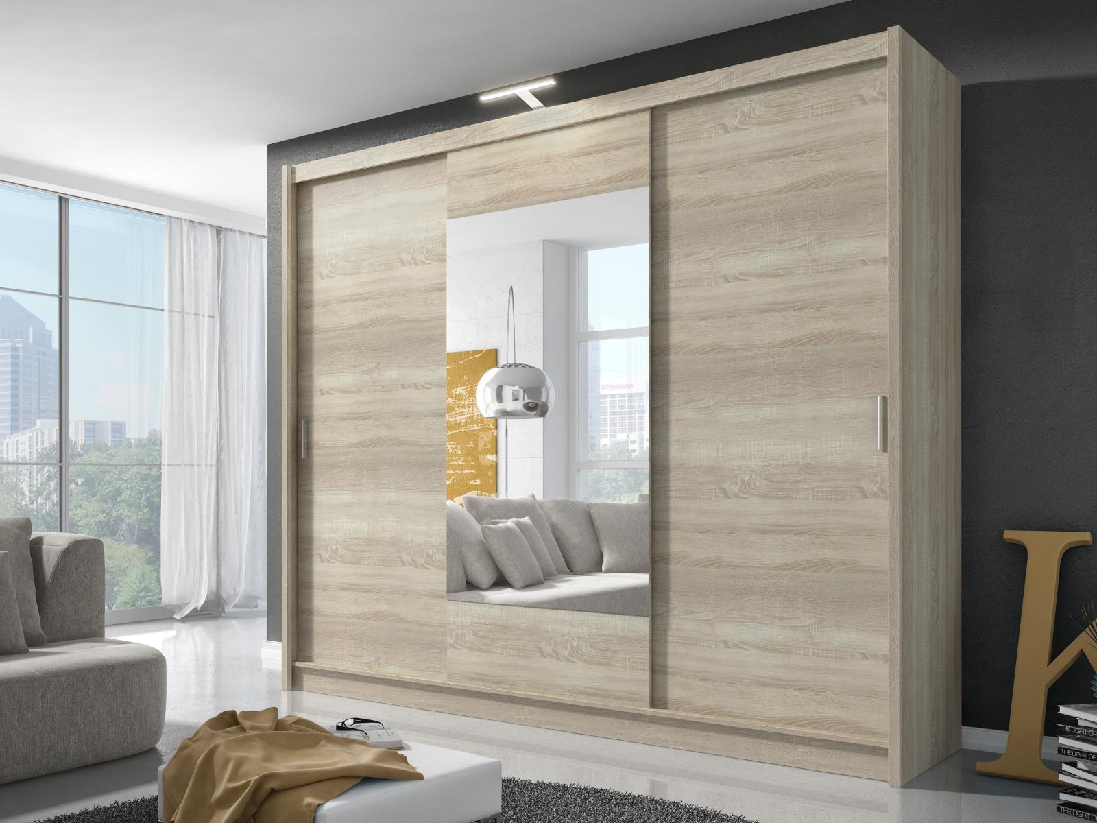 Smartshop Skříň WIKI se zrcadlem 250 cm, dub sonoma