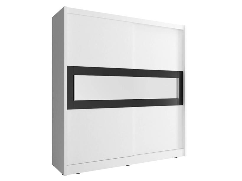 Smartshop Skříň WIKI IV s pruhem zrcadla 180 cm, bílá
