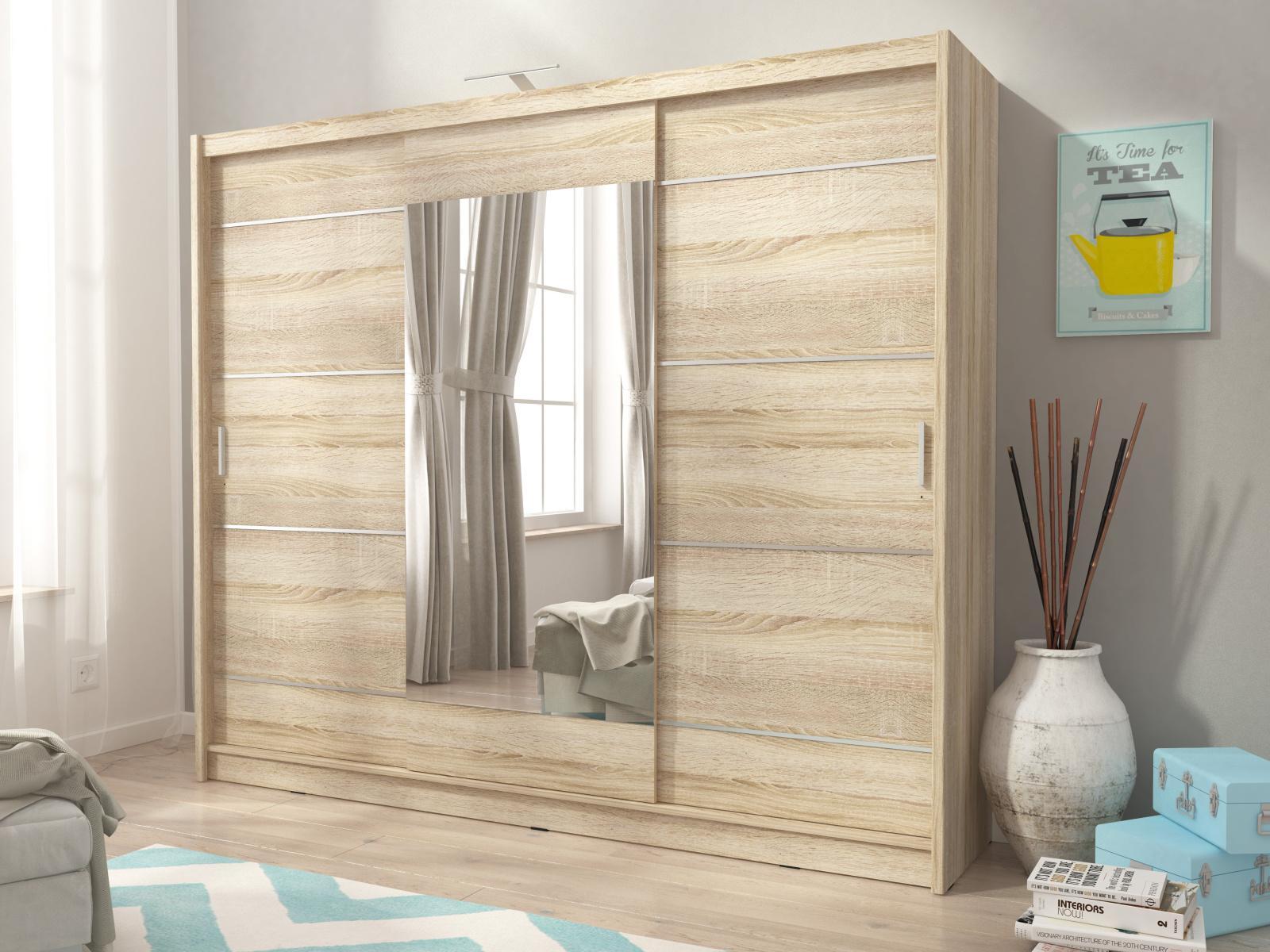 Smartshop Skříň WIKI ALU se zrcadlem 250 cm, dub sonoma