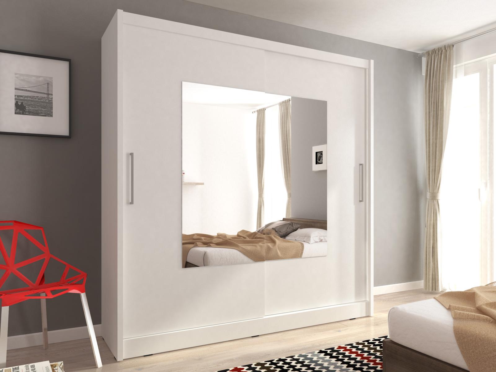 Smartshop Skříň WIKI IX se zrcadlem 180 cm, bílá
