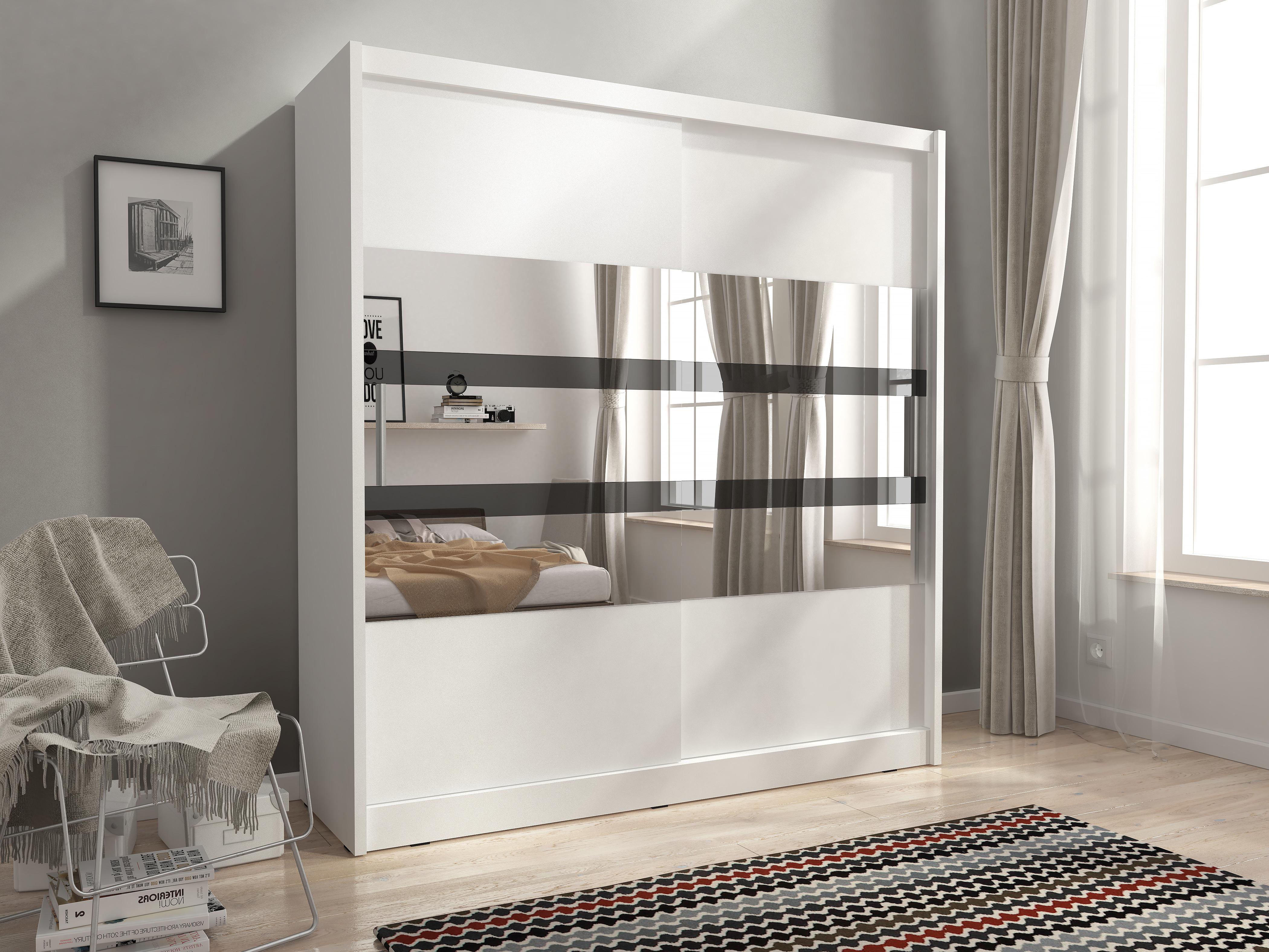 Smartshop Skříň MAJA V se zrcadlovými pruhy 180 cm, bílá