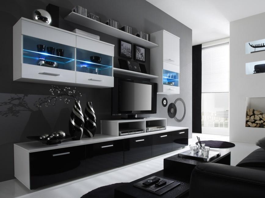 Smartshop Obývací stěna BETA I s LED osvětlením, bílá/černý lesk