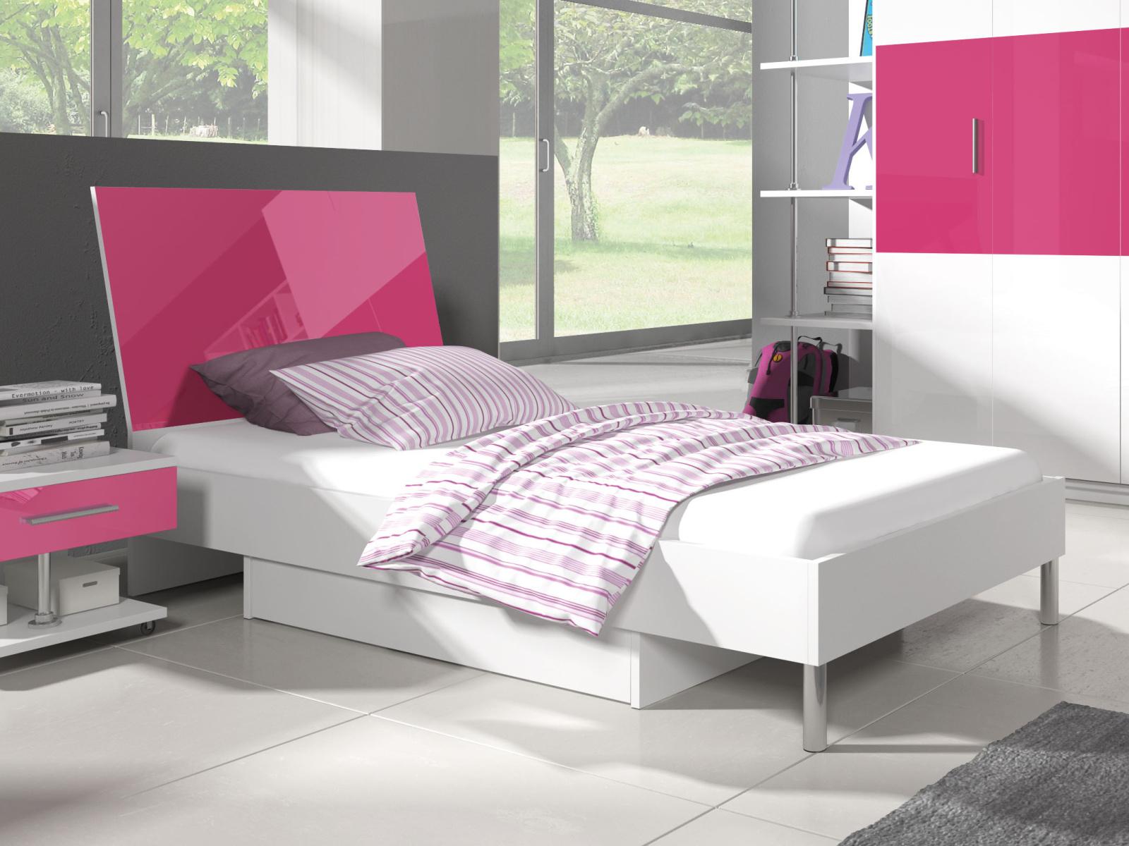 Smartshop Postel 90x200 cm RAJ 3, bílá/růžový lesk