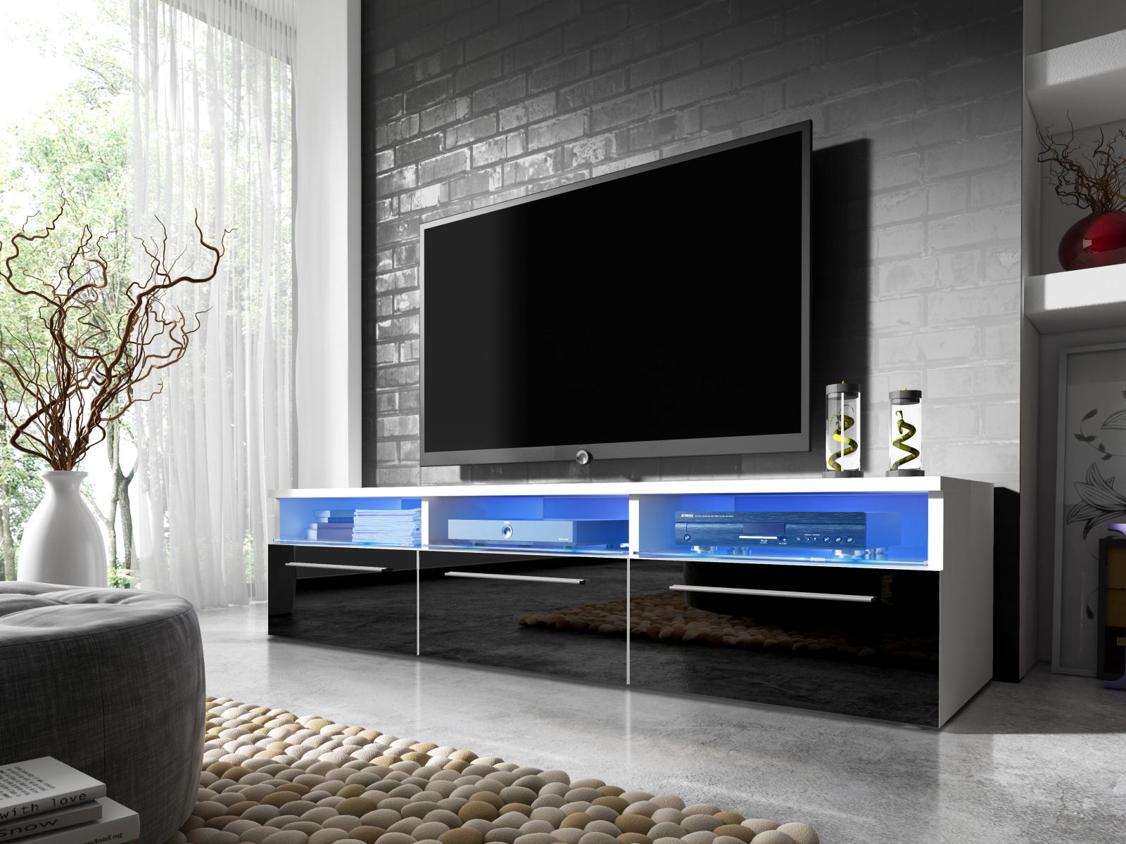 Smartshop Televizní stolek RTV 2, bílá/černý lesk