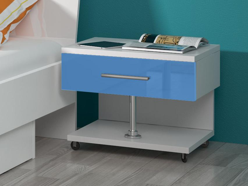 Noční stolek RAJ, bílá/modrý lesk