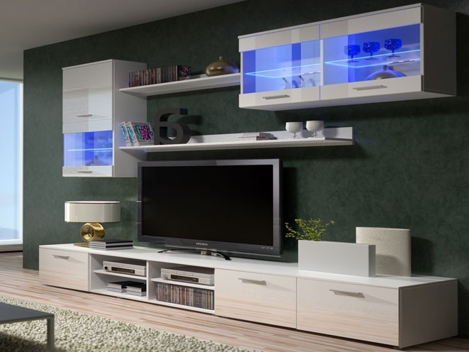 Smartshop Obývací stěna BETA II s LED osvětlením, bílá/bílý lesk
