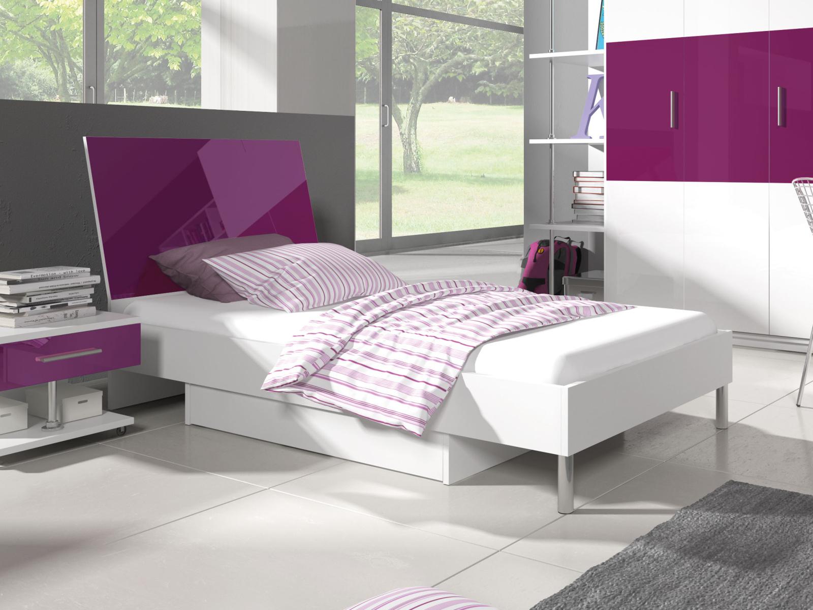 Smartshop Postel 90x200 cm RAJ 3, bílá/fialový lesk