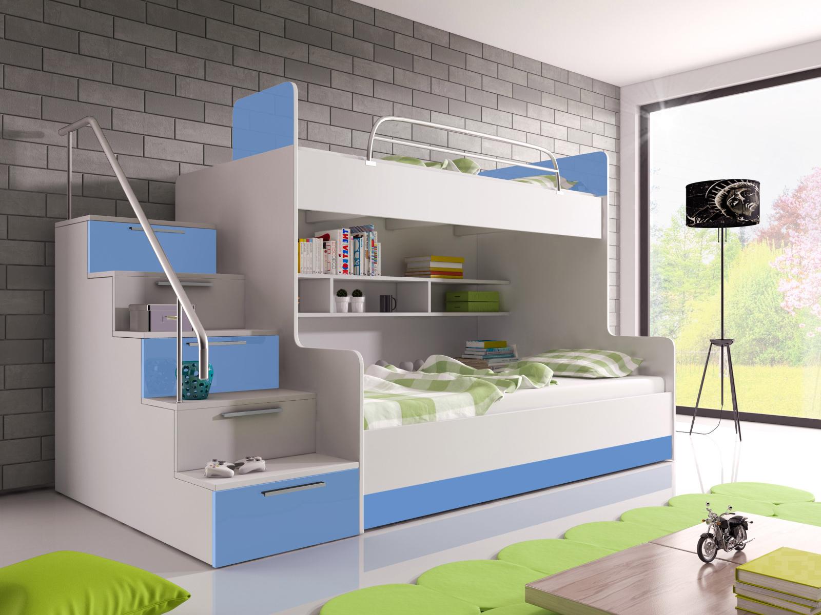 Smartshop Patrová postel RAJ 2 levá, bílá/modrý lesk