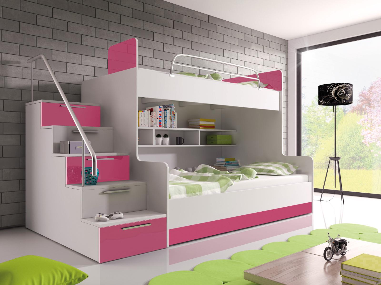 Smartshop Patrová postel RAJ 2 levá, bílá/růžový lesk
