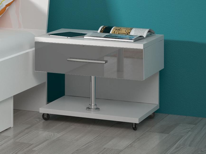 Noční stolek RAJ, bílá/šedý lesk