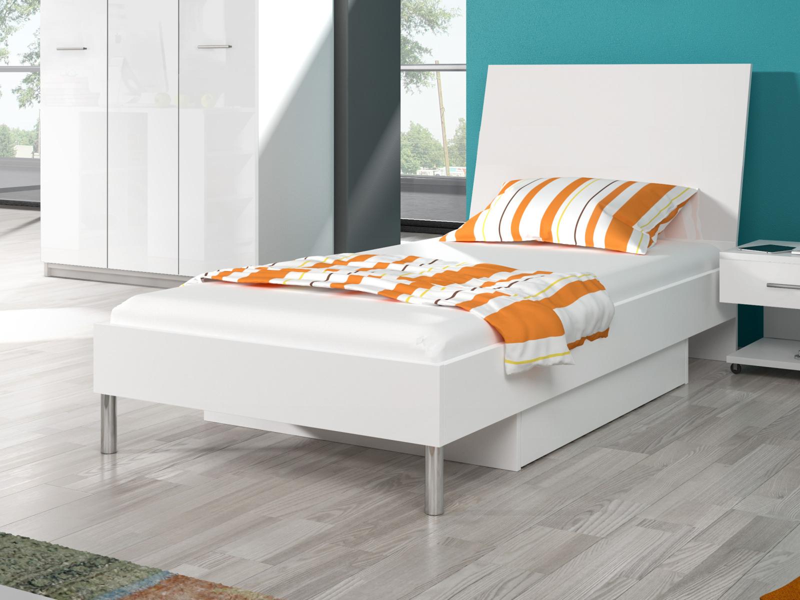 Smartshop Postel 90x200 cm RAJ 1, bílá/bílý lesk