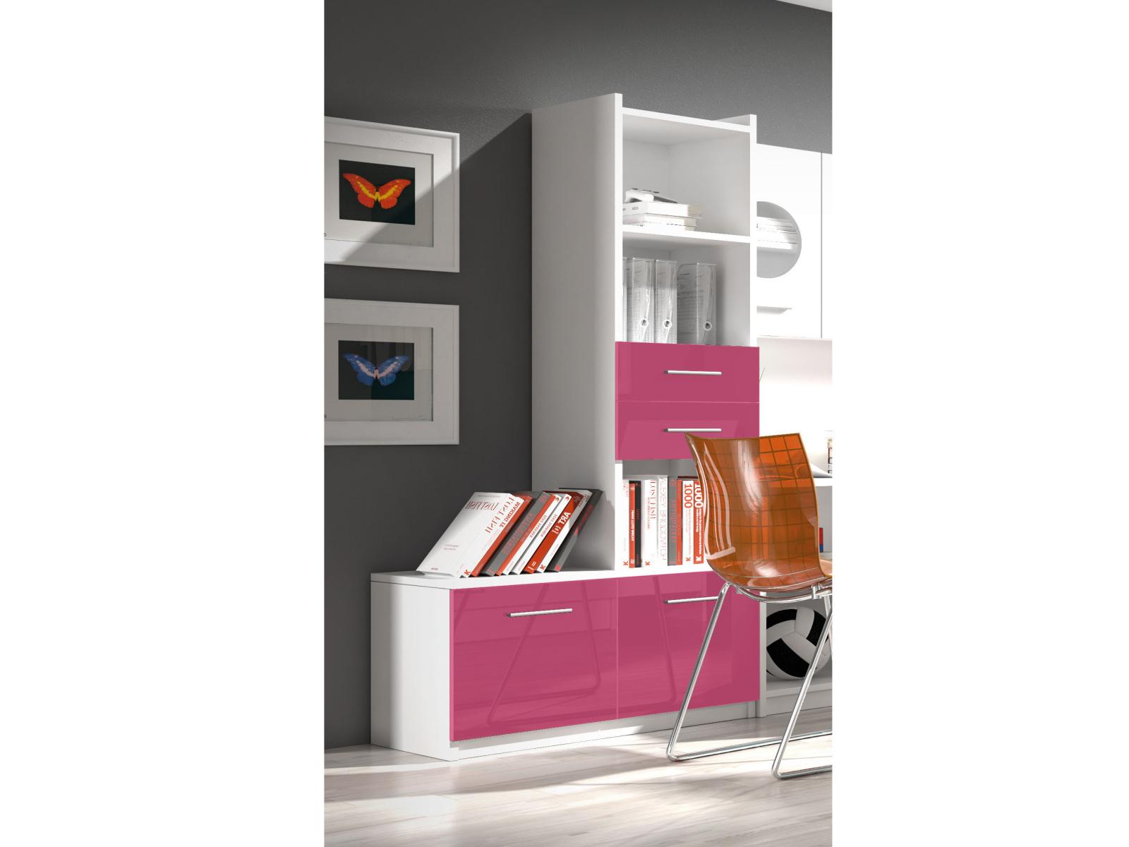 Smartshop Regál RAJ 1, bílá/růžový lesk