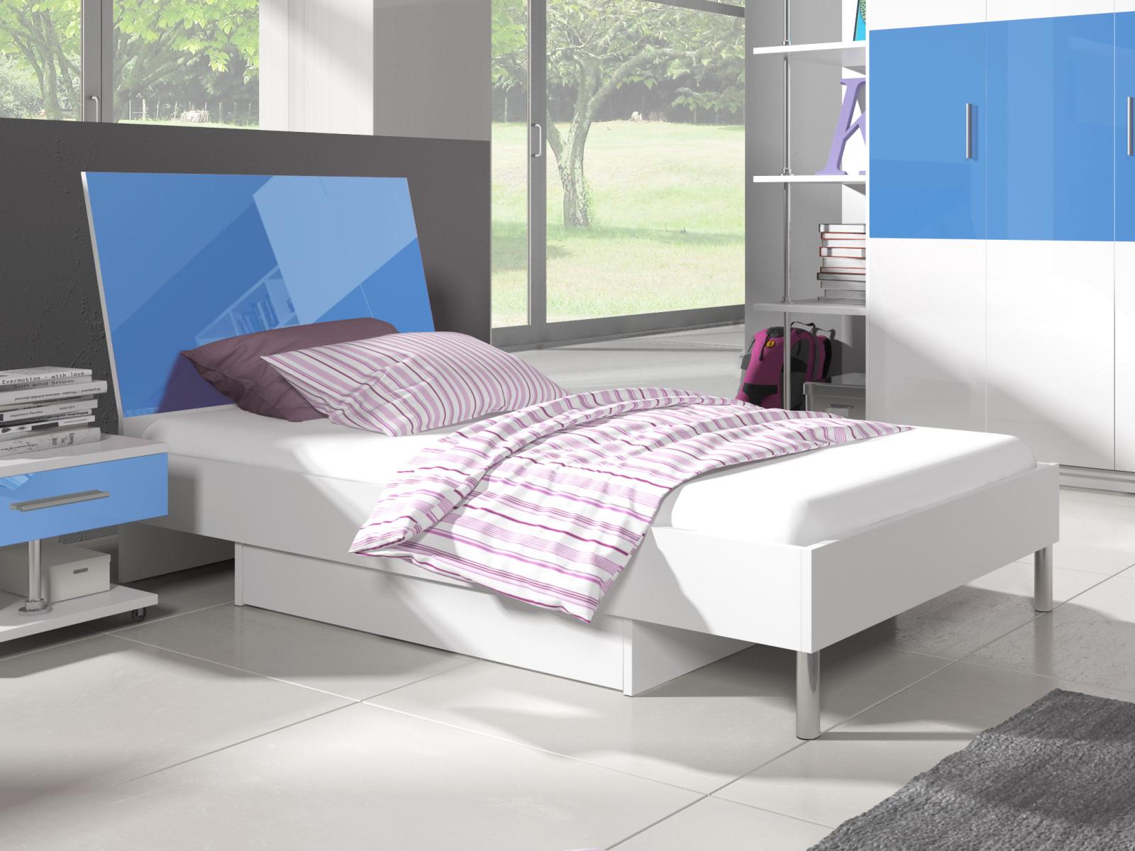 Smartshop Postel 90x200 cm RAJ 3, bílá/modrý lesk