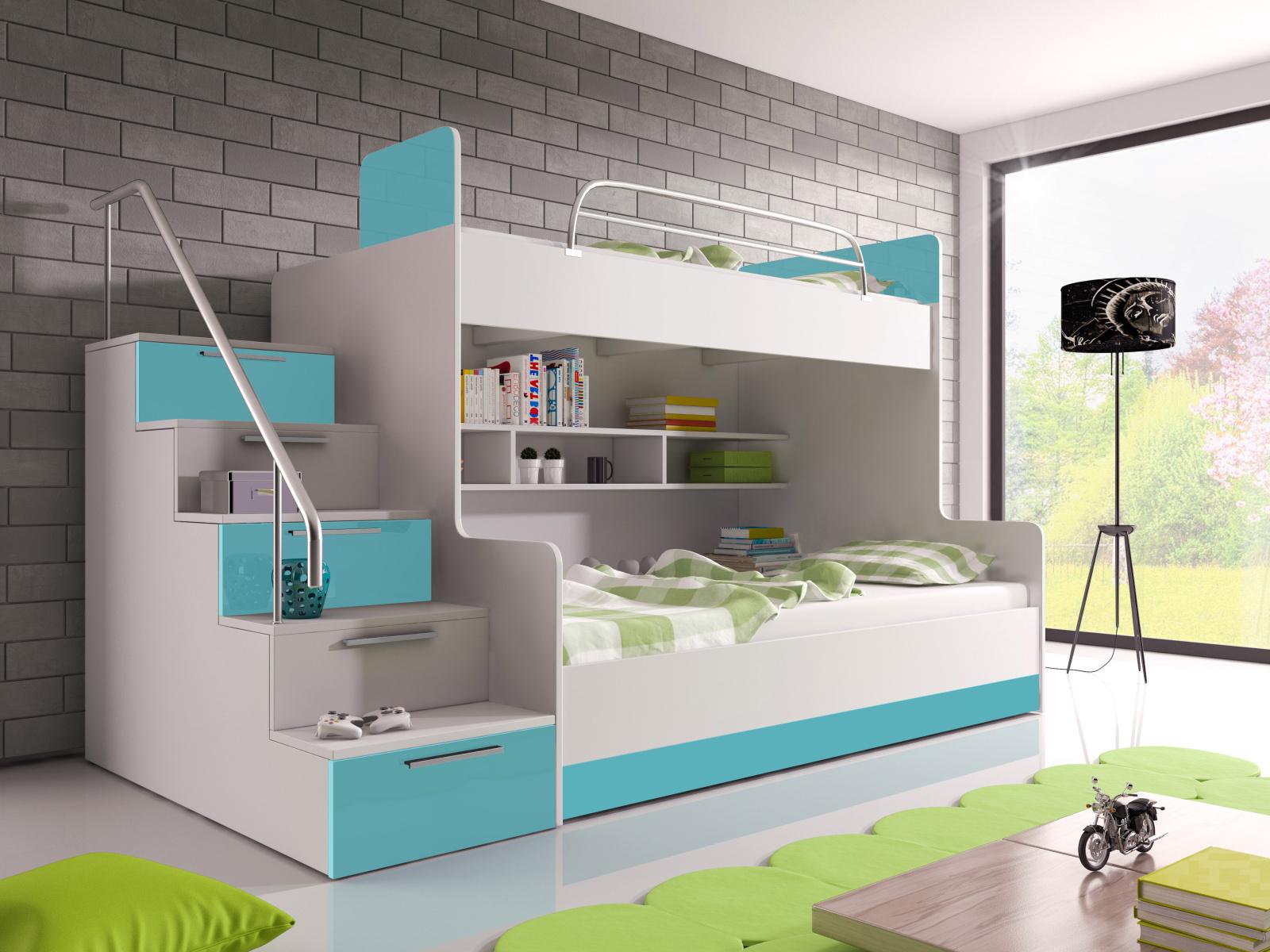 Smartshop Patrová postel RAJ 2 levá, bílá/tyrkysový lesk