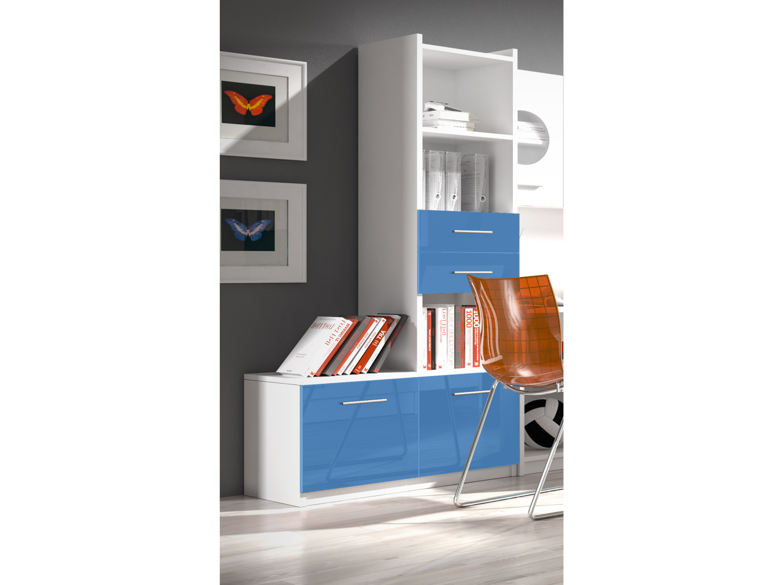 Smartshop Regál RAJ 1, bílá/modrý lesk