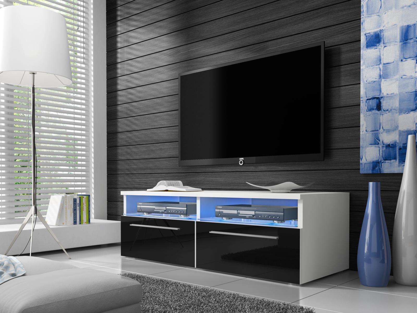 Smartshop Televizní stolek RTV 6, bílá/černý lesk