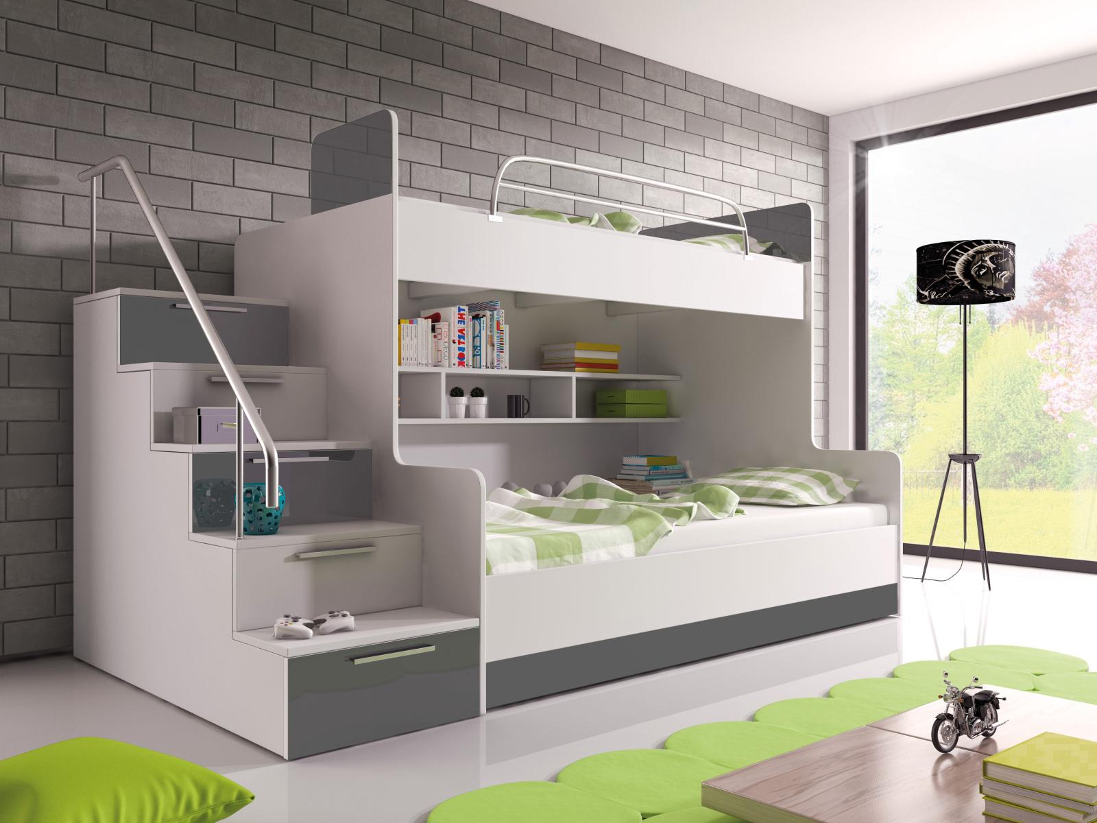 Smartshop Patrová postel RAJ 2 levá, bílá/šedý lesk