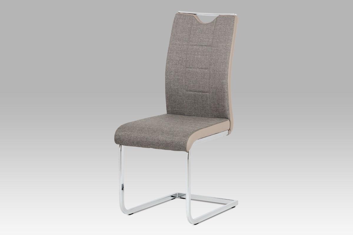 Autronic Jídelní židle chrom / lanýžová látka + lanýžová koženka DCL-410 LAN2