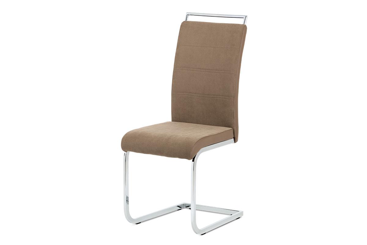 Jídelní židle lanýžová látka + hnědá koženka / chrom DCL-966 LAN2