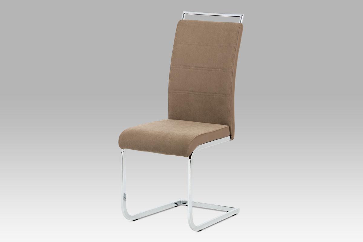 Autronic Jídelní židle lanýžová látka + hnědá koženka / chrom DCL-966 LAN2