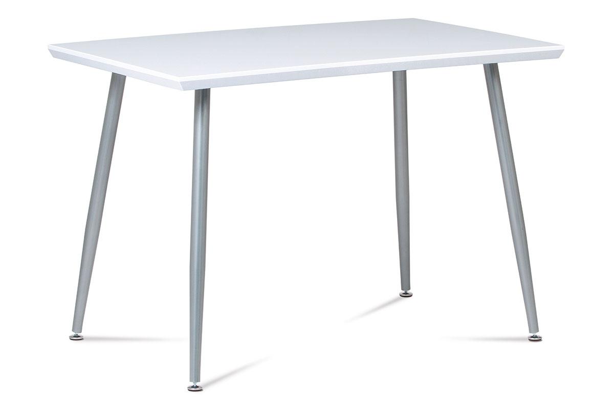 Jídelní stůl 110x70 cm, MDF vys. lesk bílý / šedý lak GDT-227 WT
