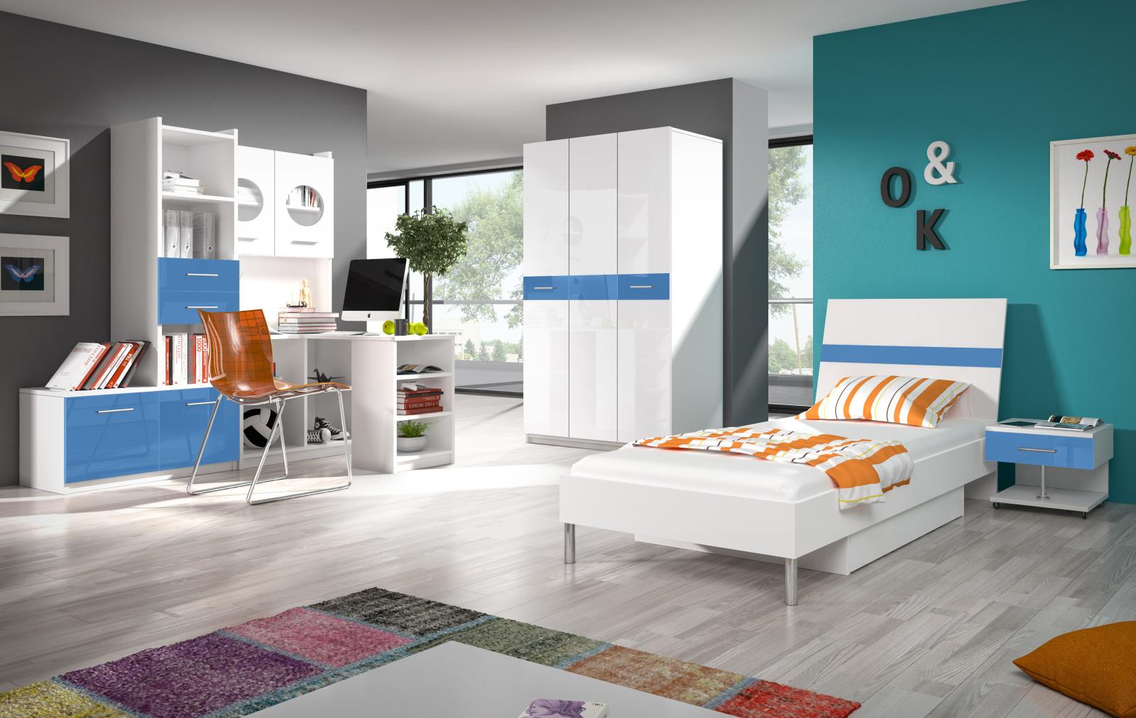 Dětský pokoj RAJ 1, bílá/modrý lesk