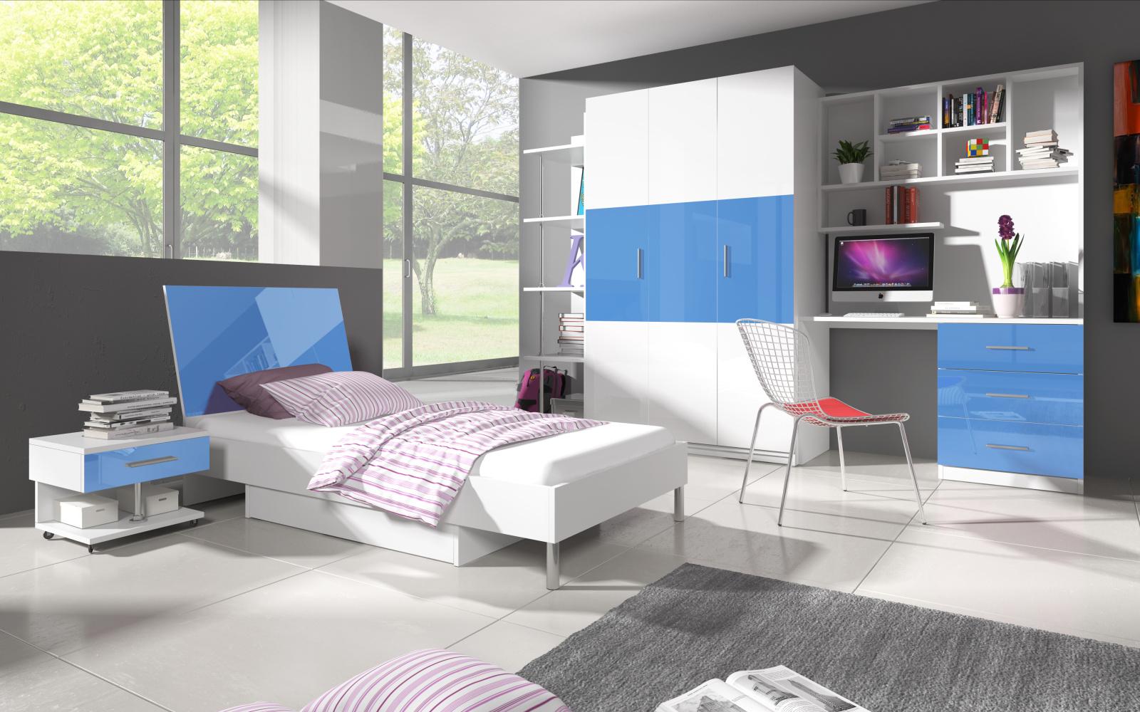 Dětský pokoj RAJ 3, bílá/modrý lesk