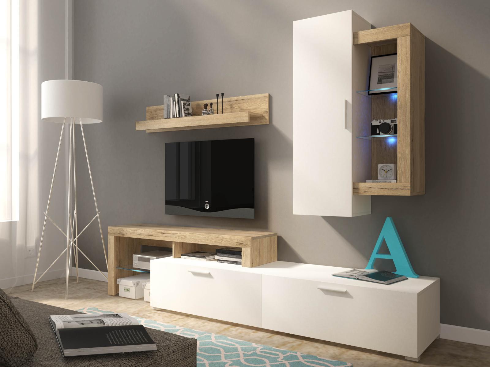 Smartshop Obývací stěna HARRY, dub san remo/bílá