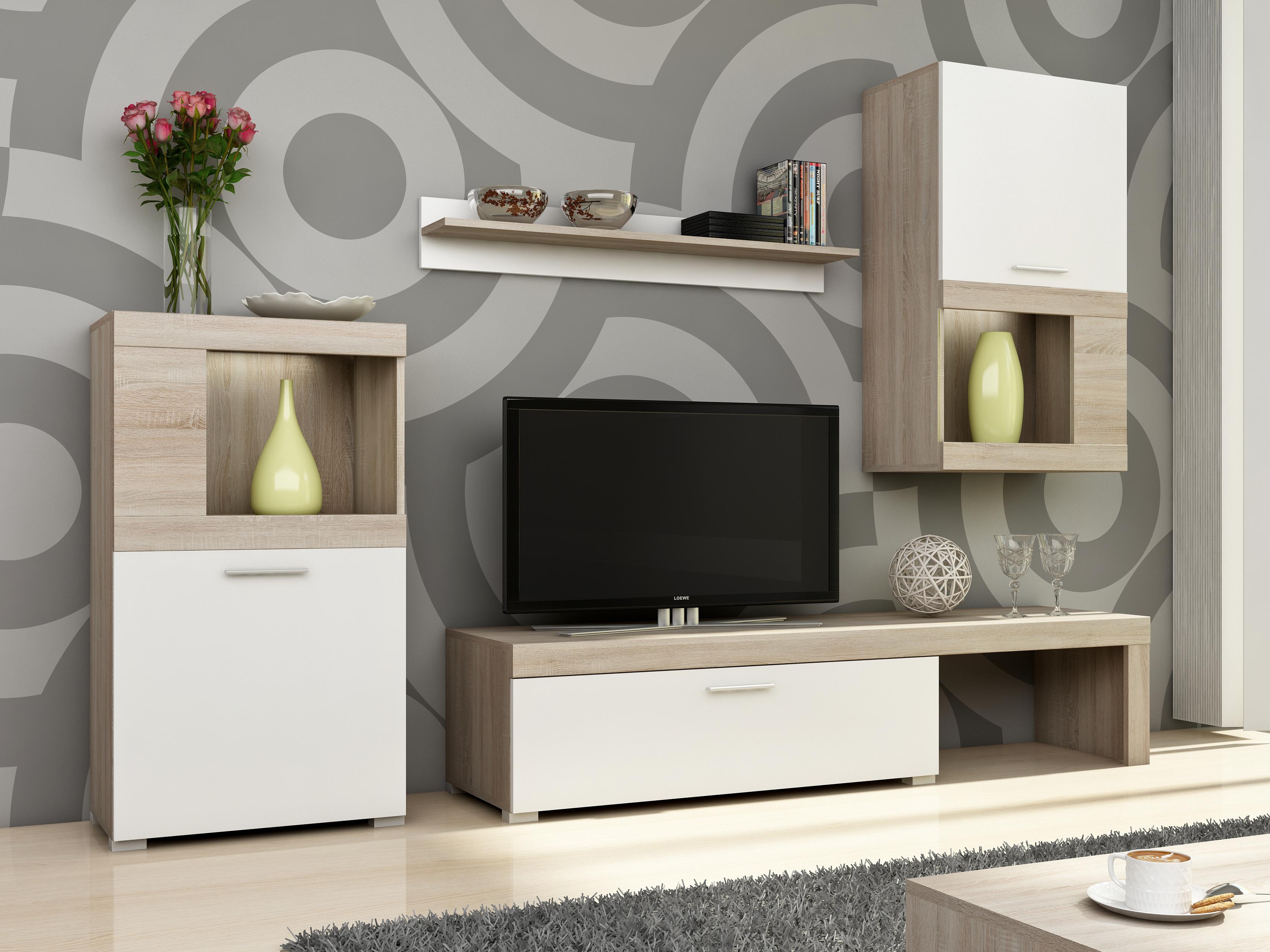 Smartshop Obývací stěna FOLK, dub sonoma/bílá