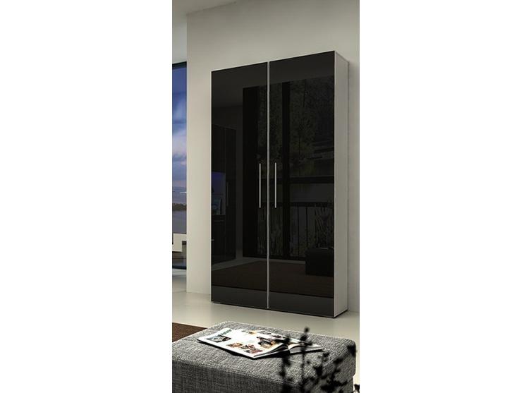 Smartshop NICEA šatní skříň, bílá/černý lesk