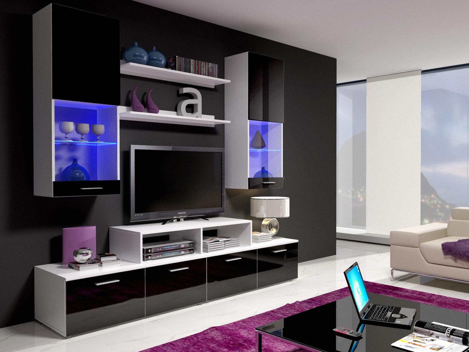 Smartshop Obývací stěna MINI II s LED osvětlením, bílá/černý lesk