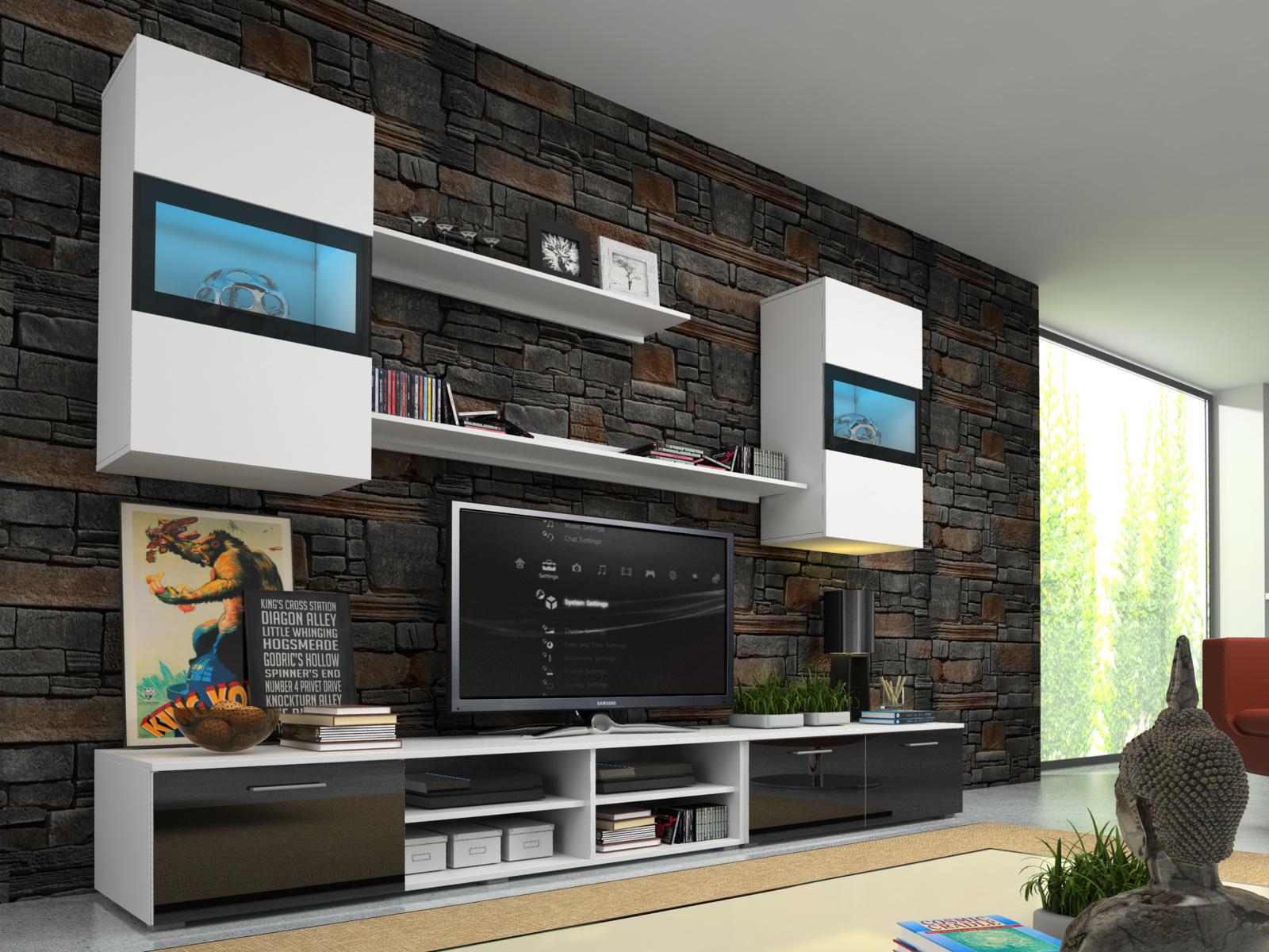 Smartshop Obývací stěna OMEGA s LED osvětlením, bílá/černý lesk