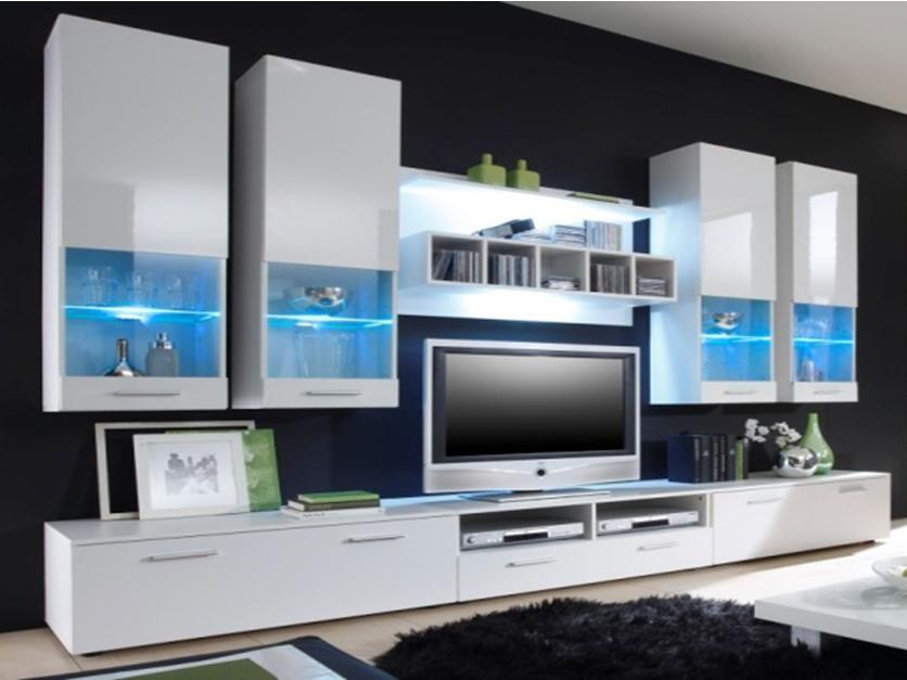 Obývací stěna ALFA II s LED osvětlením, bílá/bílý lesk