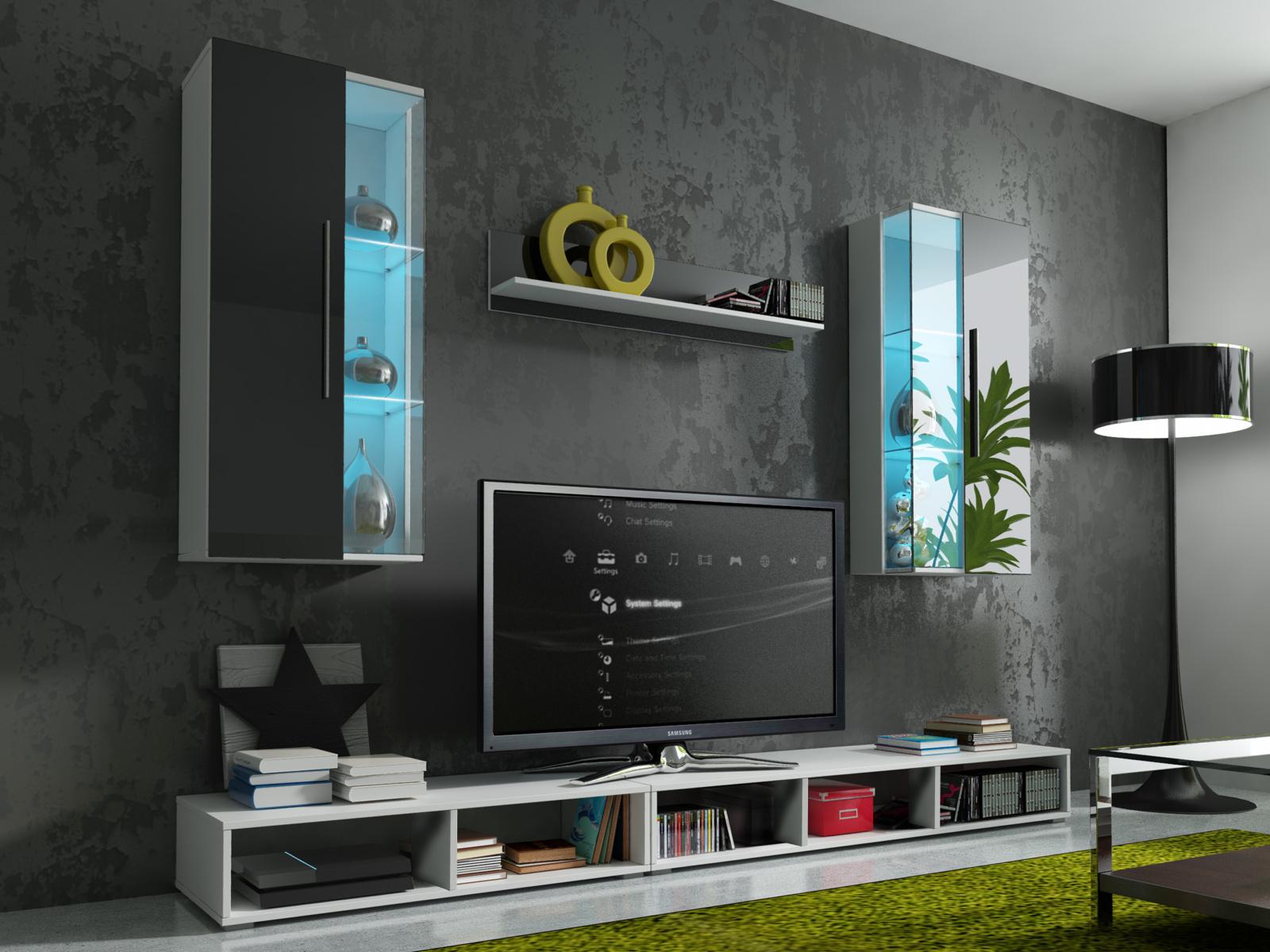 Smartshop Obývací stěna EPSILON s LED osvětlením, bílá/černý lesk