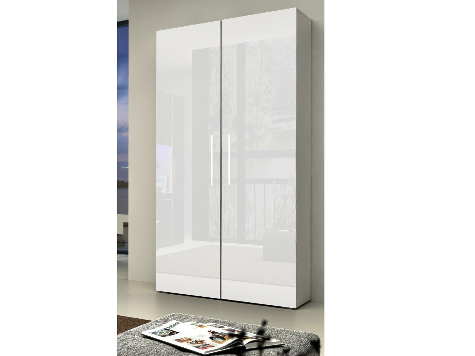 Smartshop NICEA šatní skříň, bílá/bílý lesk