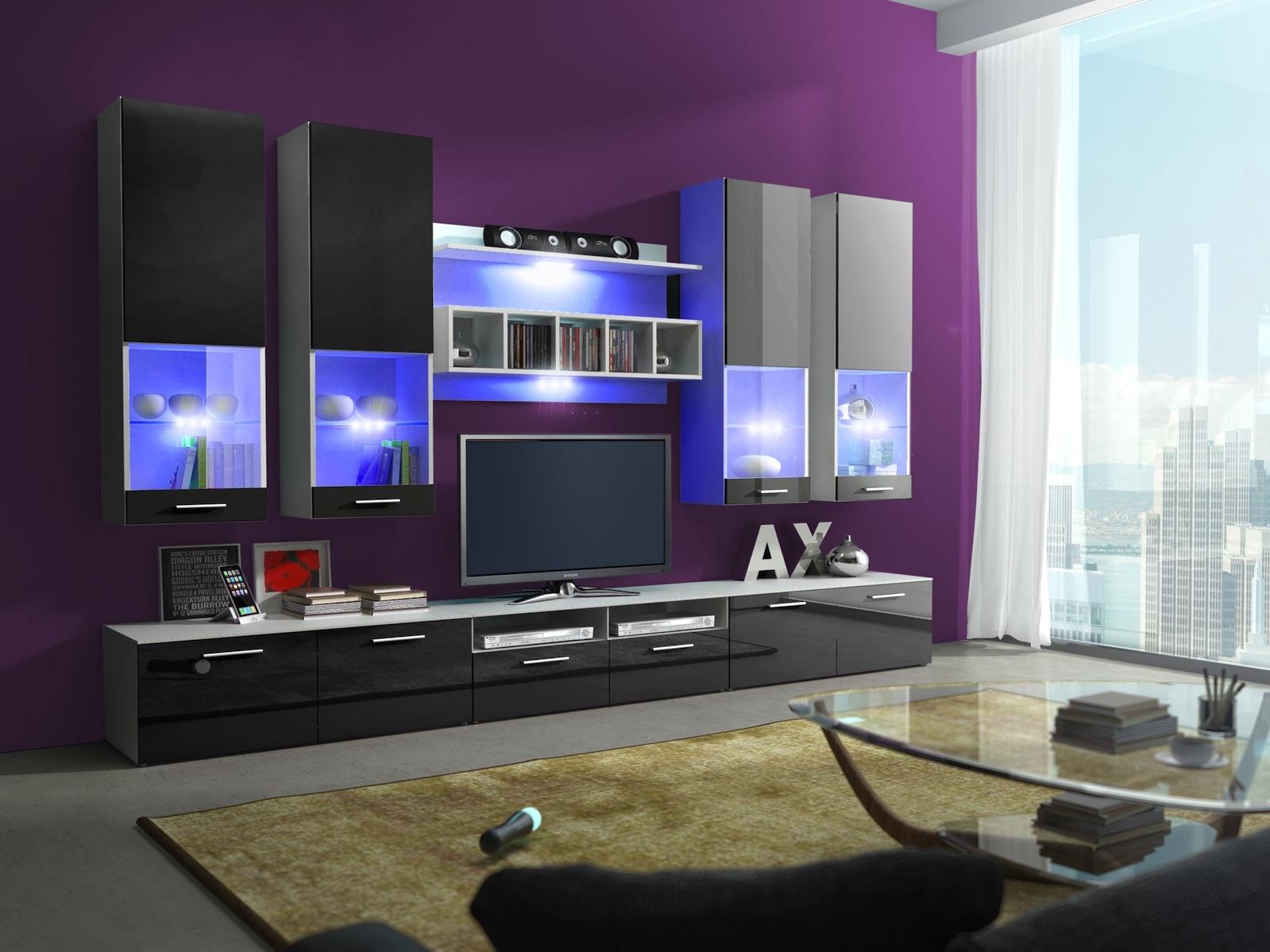 Obývací stěna ALFA II s LED osvětlením, bílá/černý lesk