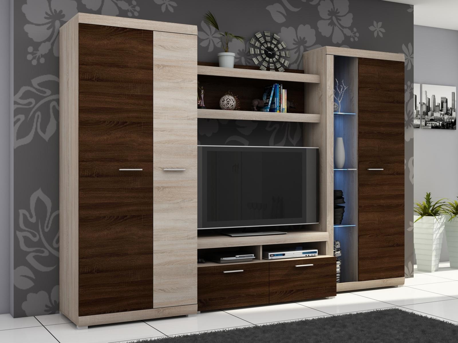 Smartshop Obývací stěna ALVARO II, dub sonoma/dub sonoma čokoládový