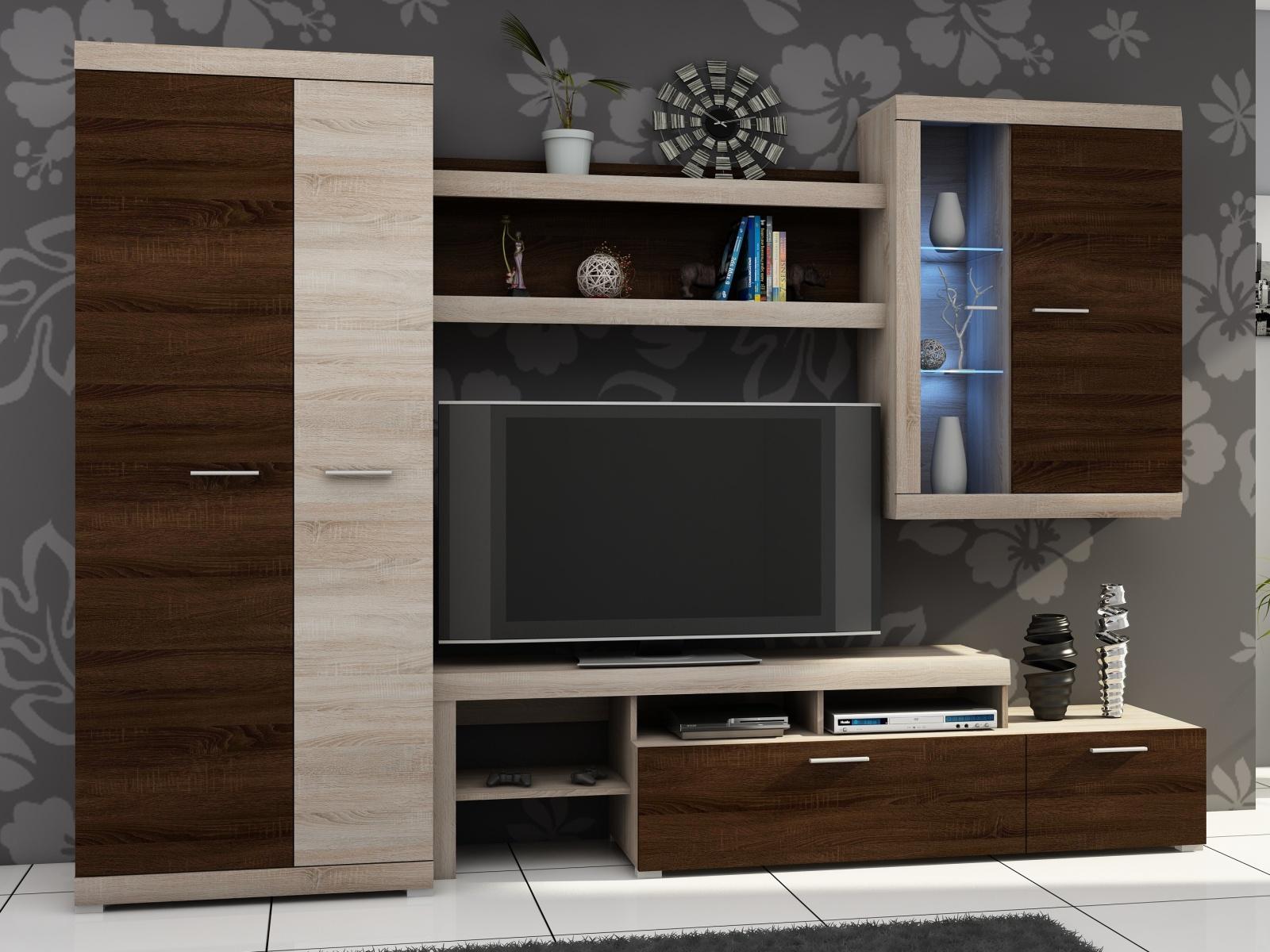 Smartshop Obývací stěna ALVARO I, dub sonoma/dub sonoma čokoládový