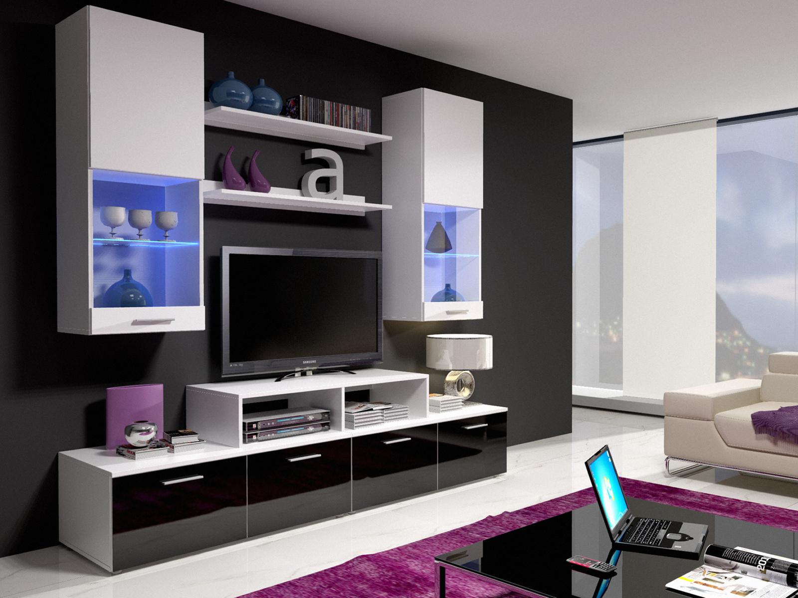 Smartshop Obývací stěna MINI II s LED osvětlením, bílá/bílý lesk + černý lesk