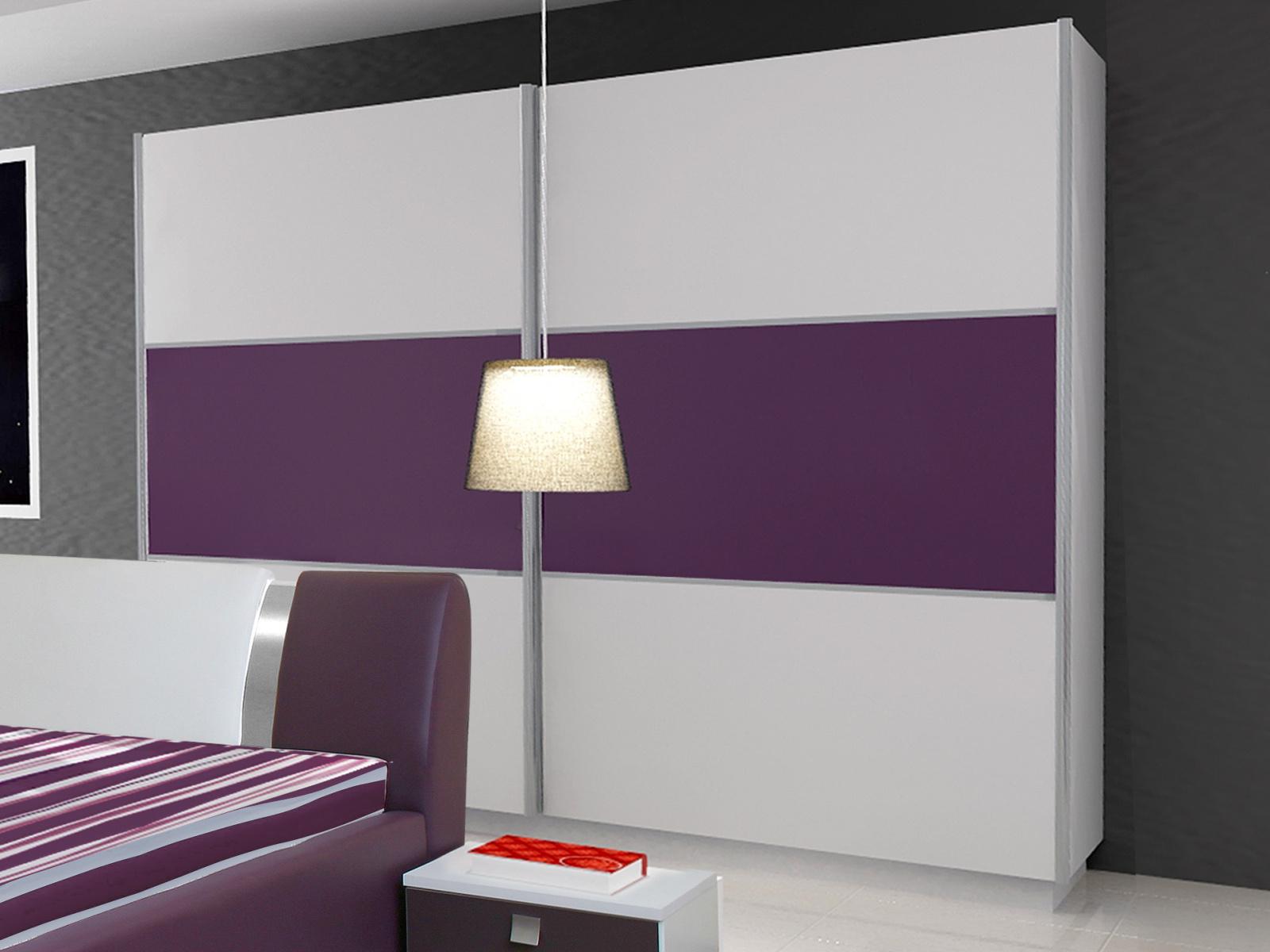 Smartshop Šatní skříň RIVA II 200, bílá/bílý + fialový lesk