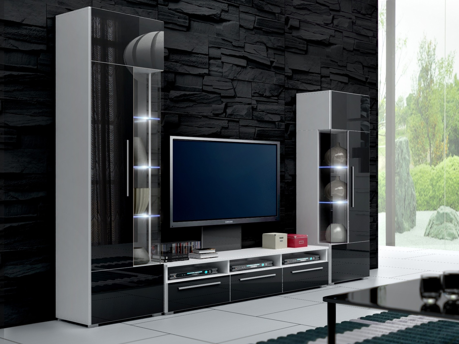 Smartshop Obývací stěna ROMA II s LED osvětlením, bílá/černý lesk