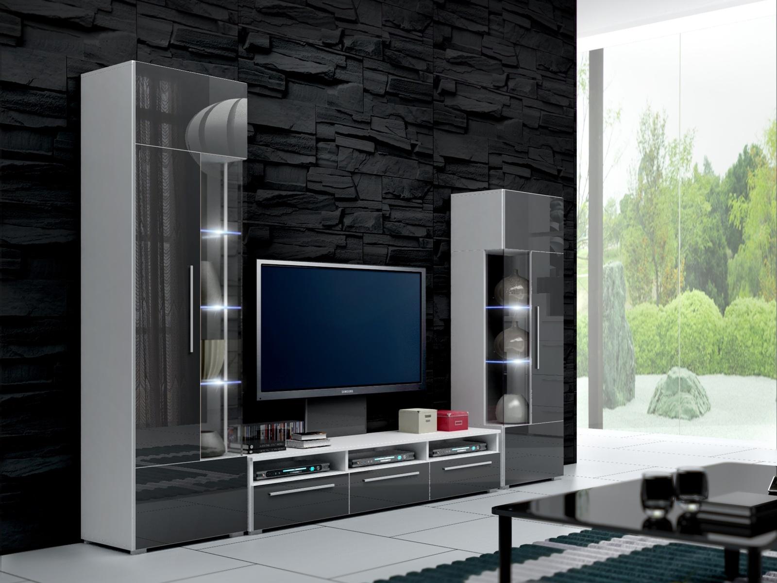 Smartshop Obývací stěna ROMA II s LED osvětlením, bílá/šedý lesk
